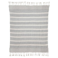 Load image into Gallery viewer, Dusk Stripe Throw, Grey & White