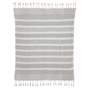 Dusk Stripe Throw, Grey & White