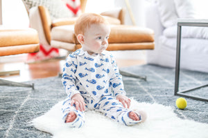 Smart Footed One-Piece + Bib - Blue Whale