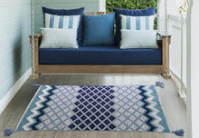 Load image into Gallery viewer, White & Blue Stripes Accent Rugs