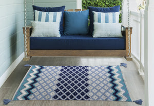 White & Blue Stripes Accent Rugs