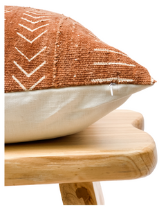 Mudcloth Cream Abstract on Rust-Brown Pillow Cover