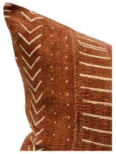 Load image into Gallery viewer, Mudcloth Cream Abstract on Rust-Brown Pillow Cover