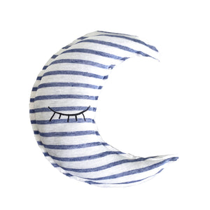 Moon shaped striped pillow - Sleeping eyes print