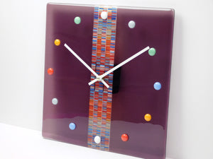 Fused glass wall clock Sweet Candies in Cranberry juice