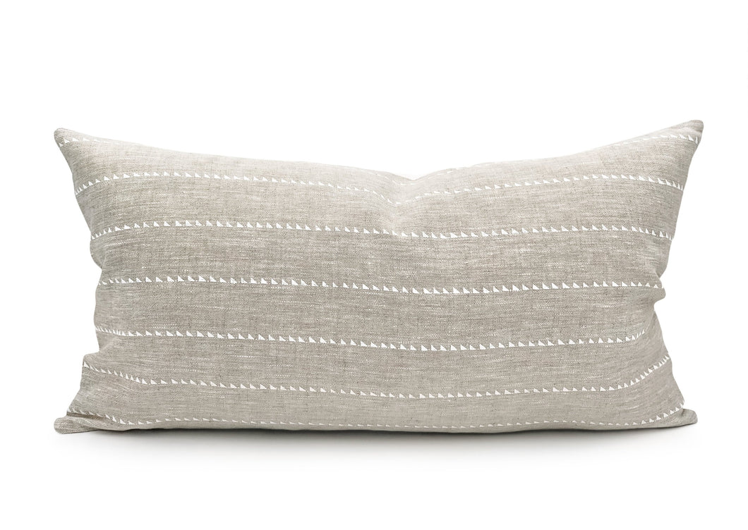 White Bride Stripe on Natural Linen Lumbar Pillow Cover