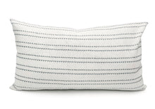 Load image into Gallery viewer, Rock Grey Stripes on White Lumbar PIllow Cover