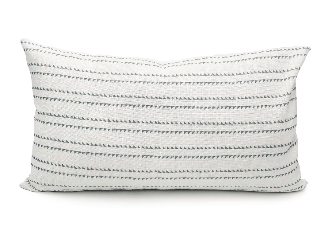 Rock Grey Stripes on White Lumbar PIllow Cover