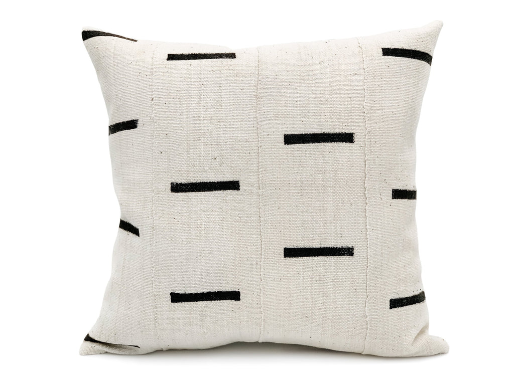Mudcloth Black Lines on White Pillow Cover - 20x20