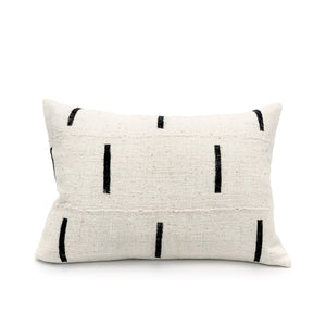 Mudcloth Black Lines on White Pillow Cover - 18x18