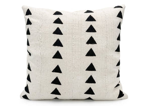 Mudcloth Black Triangles on White Pillow Cover - 18x18