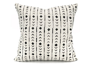 Mudcloth Black Rhombs on White Pillow Cover - 20x20