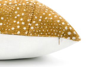 Mudcloth White Dots on Mustard Pillow Cover - 18x18
