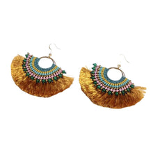 Load image into Gallery viewer, Beaded Fan Earrings