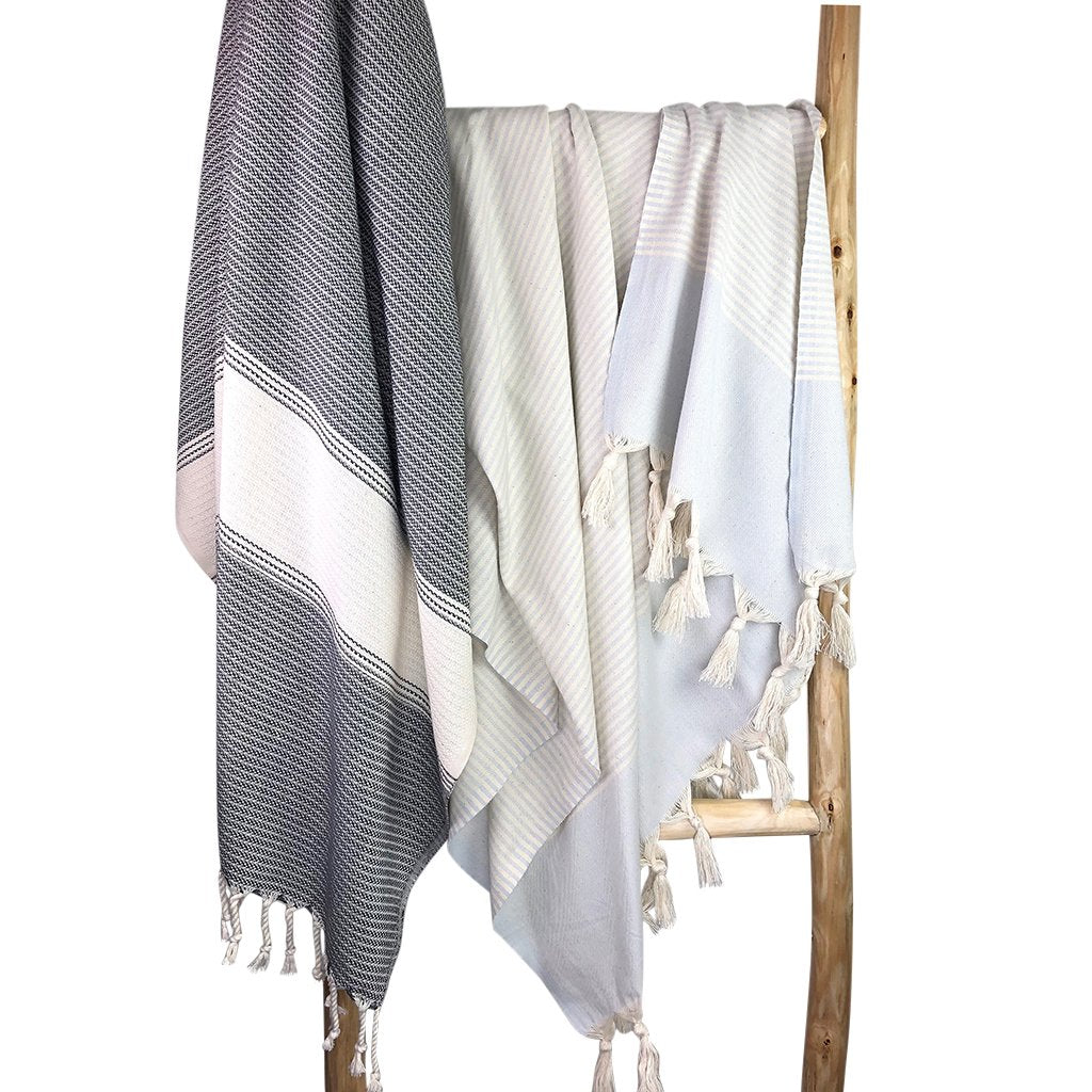 The Essential Stripe Bath Towel - Sand