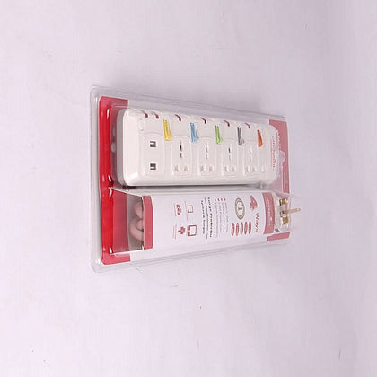 Office Point 4 Way Surge Protector with 2 USB Charging Ports - White