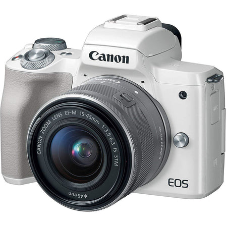 Canon EOS M50 EF-M 15-45mm F3.5-6.3 IS STM lens, 24.1 MP, 4K, Mirrorless Digital Camera, White