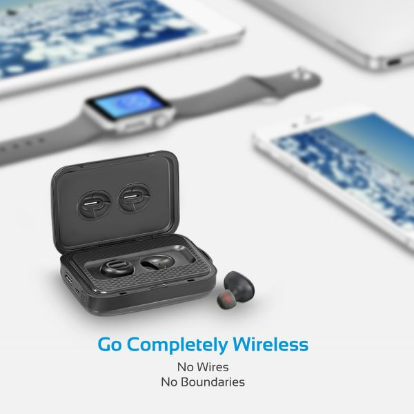 Promate True Wireless Bluetooth Earbuds with Power Bank, True Wireless Earbuds with Built-In  Mic, Wireless Handsfree Bluetooth Headset, 5000mAh Power Bank for iPhone, Samsung, iPod, PowerBeat Black