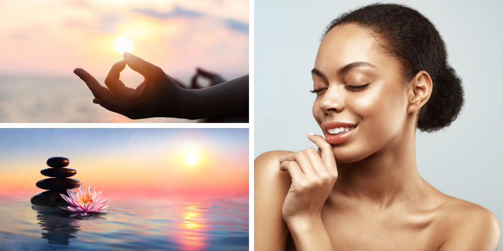 Three Images, Meditating Hand, Rocks on Water and Woman with Flawless Skin