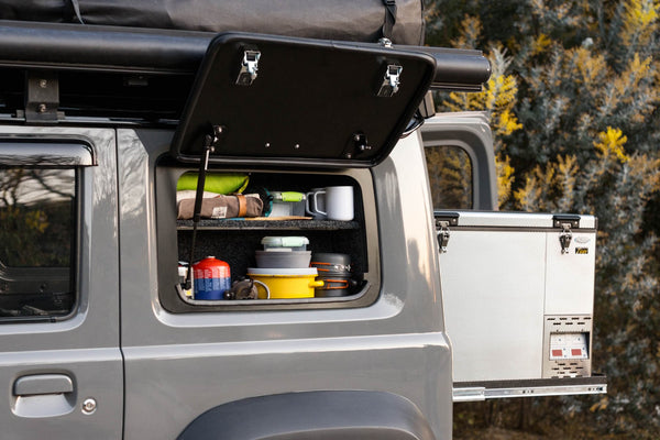 BUSHTECH Storage Cupboard for the Gullwing Style Rear Window (Jimny Year 2018+)