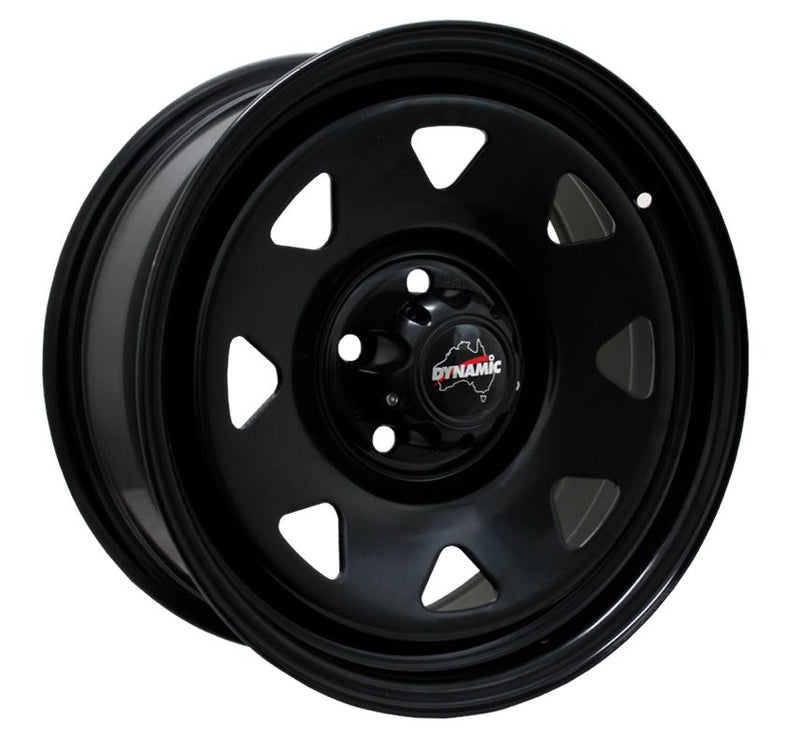 "DYNAMIC WHEEL CO. Sunraysia Black Steel Wheel *15x6"" ET3"