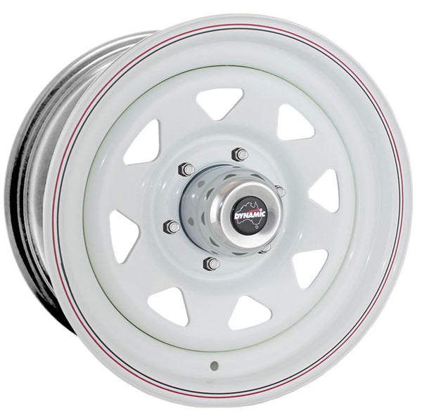 "DYNAMIC WHEEL CO. Sunraysia White Steel Wheel *15x7"" ET3"