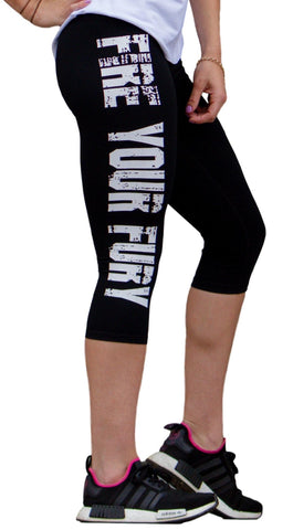 FIRE YOUR FURY Bold Writing 3/4 Gym Tights