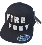 Black Flexfit 110F Flatbrim Hat Cap Custom White FIRE FURY