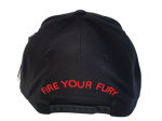 Black Flexfit 110F Flatbrim Hat Cap Custom Red FIRE FURY