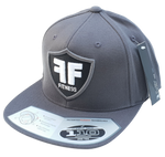 Grey Flexfit 110F Flatbrim Hat Cap White FF Fitness Puff Embroidery Logo