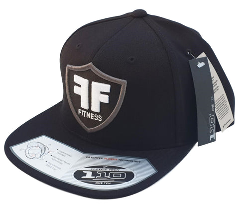 Black Flexfit 110F Flatbrim Hat Cap White FF Fitness Puff Embroidery Logo