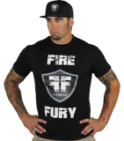 Men's Gym Black Gym Shirt - White Fire Fury Logo Shield
