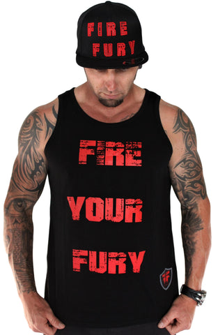 Men's Black Gym Singlet - Red Fire Your Fury