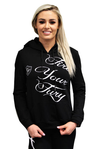 Black Womens Hoodie Gym Jumper - White Fire Your Fury