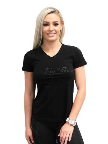 Black Fire Fury Fitness V-neck T-shirt Matte Black Imprint