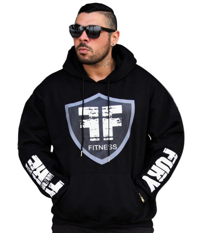 Black White FIRE FURY Logo Standout Hoodie - Gym I Workout I Casual