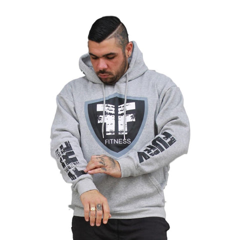 Grey Black FIRE FURY Logo Standout Hoodie - Gym I Workout I Casual