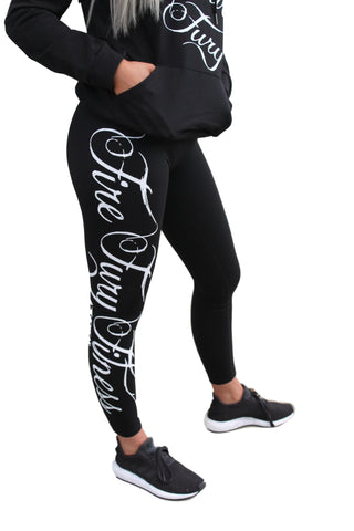 Black Tights Fire Fury Fitness White Writing F/L tights