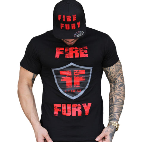 Men's Gym Black Gym Shirt - Red Fire Fury Logo Shield
