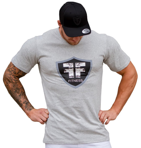 Grey Logo Soft Cotton Gym T-shirt Workout Shirt - Fire Your Fury