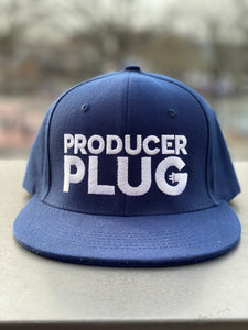 PRODUCER PLUG NAVY BLUE SNAPBACK (WHITE TEXT)
