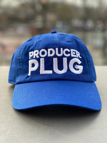 PRODUCER PLUG ROYAL BLUE DAD HAT (WHITE TEXT)