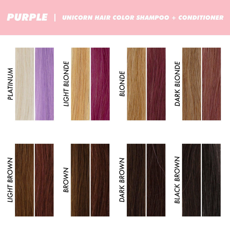 Swatches of Purple Unicorn Hair Shampoo
