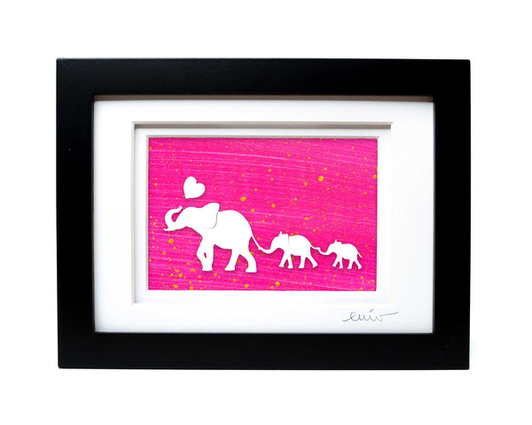 Elephant and Two Baby Papercut