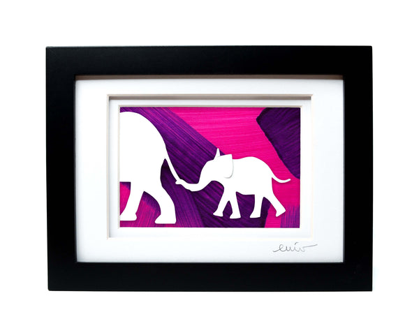 Elephant and Baby Papercut