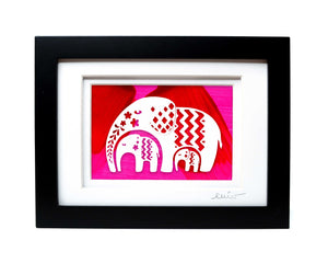 Elephant and Two Baby Pattern Papercut