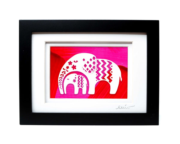 Elephant and Baby Pattern Papercut