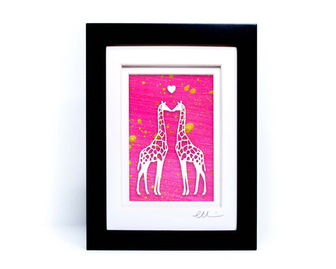 Kissing Giraffes Paper Cut