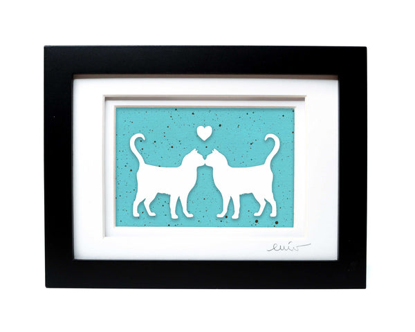 Kissing Shorthair Cats Papercut