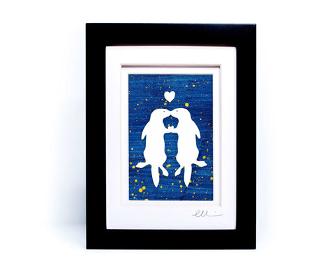 Kissing Otters Papercut